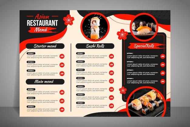 Nowoczesne Menu Restauracji Na Sushi Darmowych Wektorów