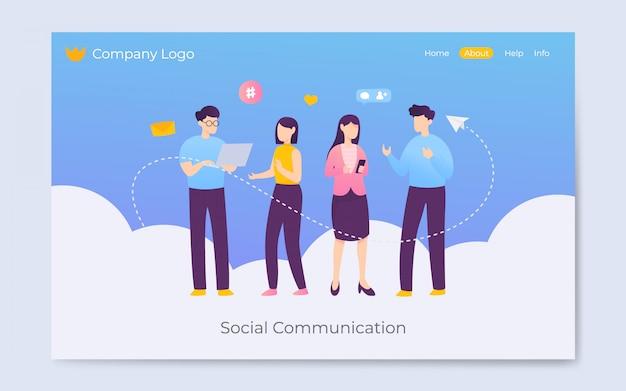 Nowoczesne mieszkanie styl komunikacji społecznej mediów lądowania strony ilustracja Premium Wektorów