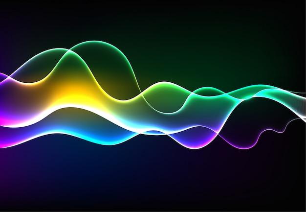 Nowoczesne mówiące fale dźwiękowe oscylujące ciemnoniebieskie światło Premium Wektorów
