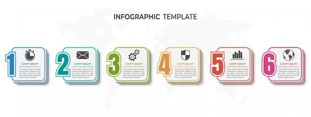 Nowoczesne numery elementów infograhic, infografika osi czasu. Premium Wektorów