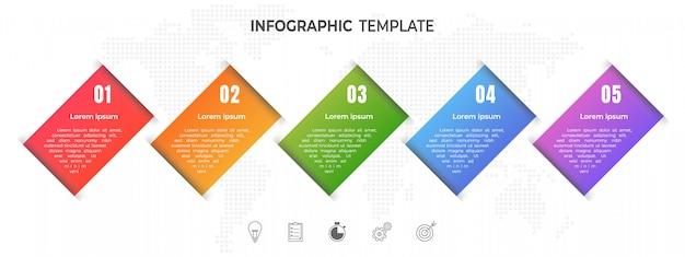Nowoczesne opcje infografiki osi czasu lub krok. Premium Wektorów