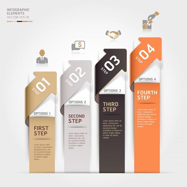 Nowoczesne opcje kroków biznesowych strzałek można wykorzystać do układu przepływu pracy, schematu, opcji liczbowych, opcji zwiększania, szablonu internetowego, infografiki. Premium Wektorów