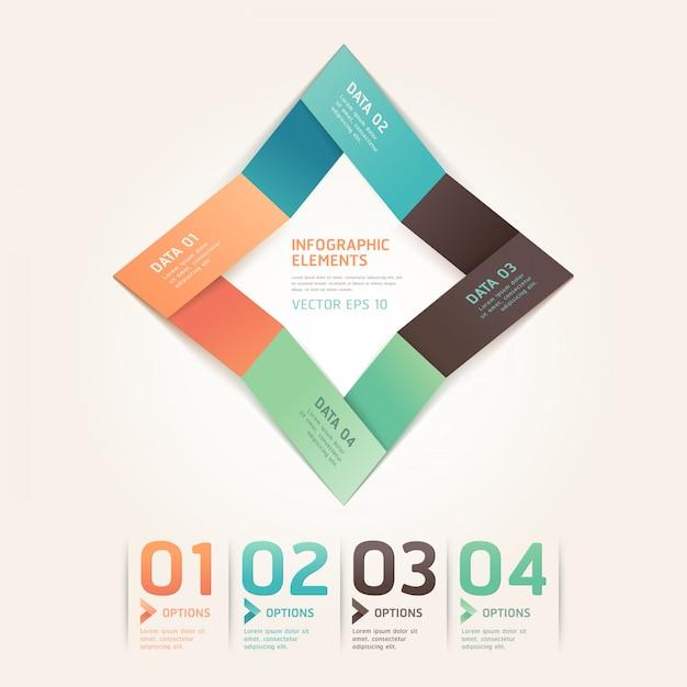 Nowoczesne opcje numer stylu origami strzałka dla układu przepływu pracy, schemat, infografiki. Premium Wektorów