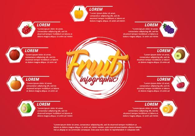 Nowoczesne owoce plansza z czerwonym tle Premium Wektorów