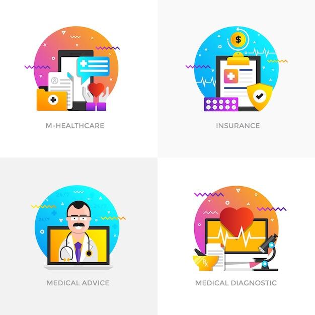 Nowoczesne, Płaskie, Kolorowe Ikony Koncepcji Dla M-healthcare Premium Wektorów