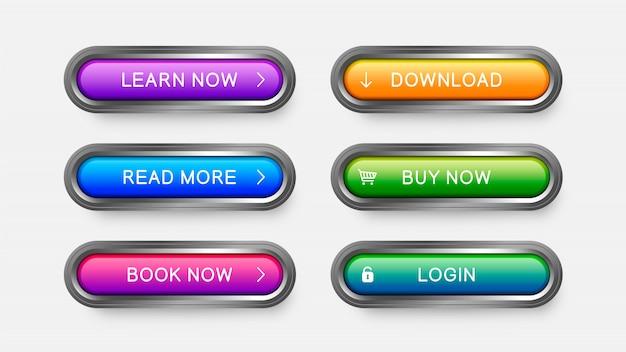 Nowoczesne przyciski internetowe w kolorze fioletowym, błękitnym, różowym, żółtym, zielonym. Premium Wektorów