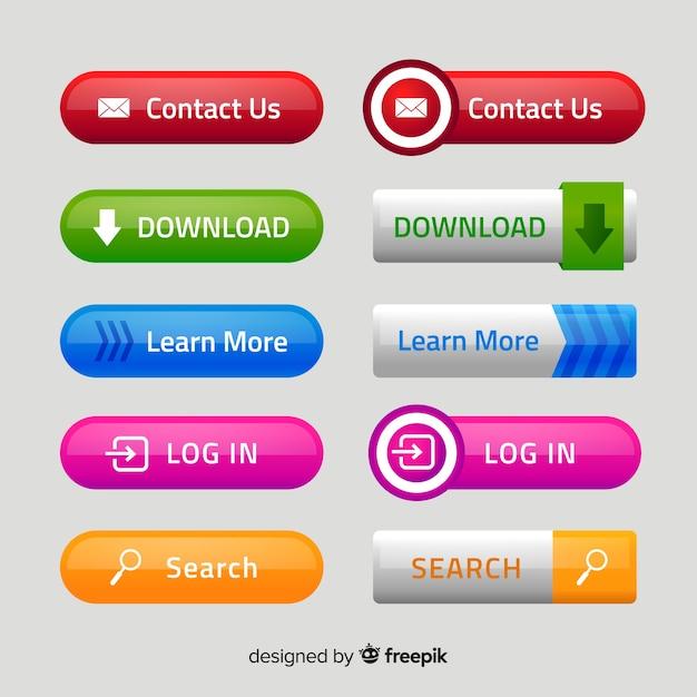 Nowoczesne przyciski internetowych w stylu gradientu Darmowych Wektorów