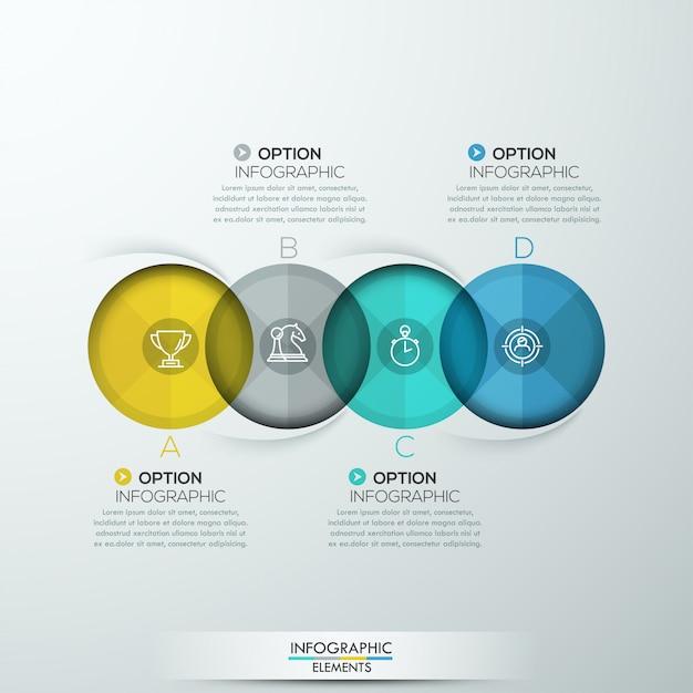 Nowoczesne spiralne infografiki z czterema opcjami Premium Wektorów