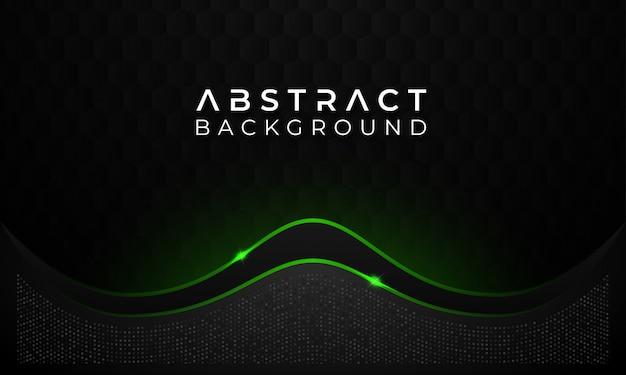 Nowoczesne streszczenie ciemnym tle z zieloną świecącą linią Premium Wektorów