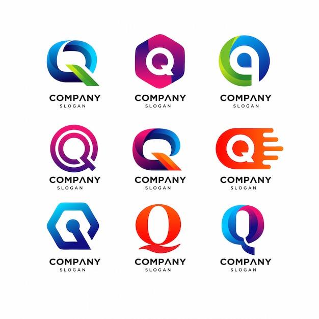 Nowoczesne szablony z literami q logo Premium Wektorów