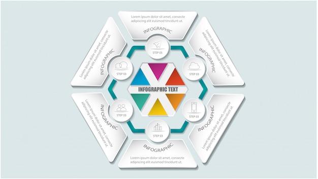 Nowoczesne Sześciokątne Opcje Szablonu Infografiki Dotyczące Układu Przepływu Pracy, Schematu, Opcji Liczb, Opcji Podwyższania, Premium Wektorów