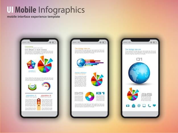 Nowoczesne telefony z ekranem dotykowym z elementami projektowania technologii infografiki Premium Wektorów
