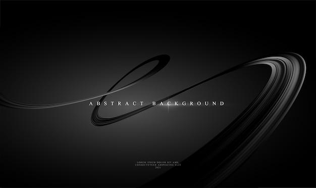 Nowoczesne Trendy Czarne Abstrakcyjne Tło Z Błyszczącą Czarną Zakrzywioną Wstążką. Ilustracja Premium Wektorów