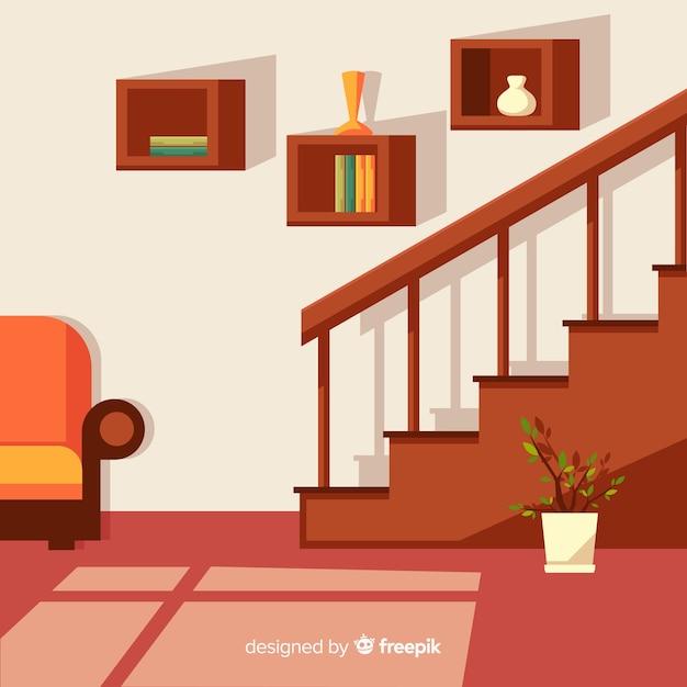 Nowoczesne Wnętrze Domu O Płaskiej Konstrukcji Premium Wektorów