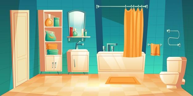 Nowoczesne Wnętrze łazienki Z Meblami Kreskówki Darmowych Wektorów