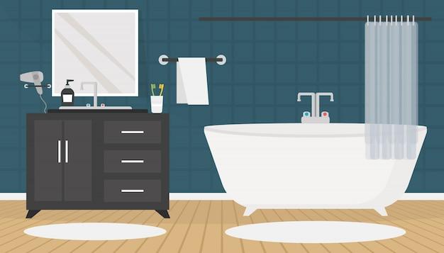 Nowoczesne Wnętrze łazienki Z Meblami W Stylu Płaskiej Premium Wektorów