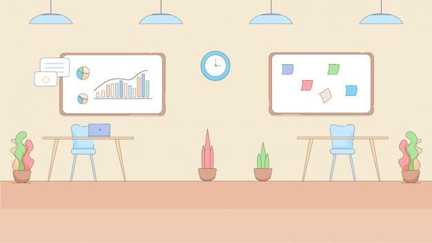 Nowoczesne wnętrze puste biuro w stylu hi-tech. Premium Wektorów