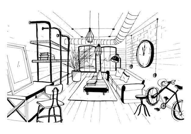 Nowoczesne Wnętrze Salonu W Stylu Loftu. Ręcznie Rysowane Szkic Ilustracji. Premium Wektorów
