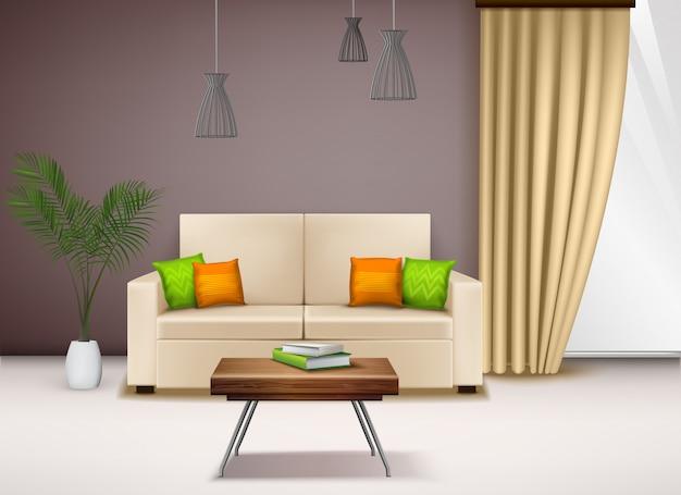 Nowoczesne Wygodne Beżowe Siedzenie Miłości Z Fantazyjnymi Jasnymi Poduszkami Piękne Pomysły Dekoracji Wnętrz Domu Realistyczne Ilustracje Darmowych Wektorów