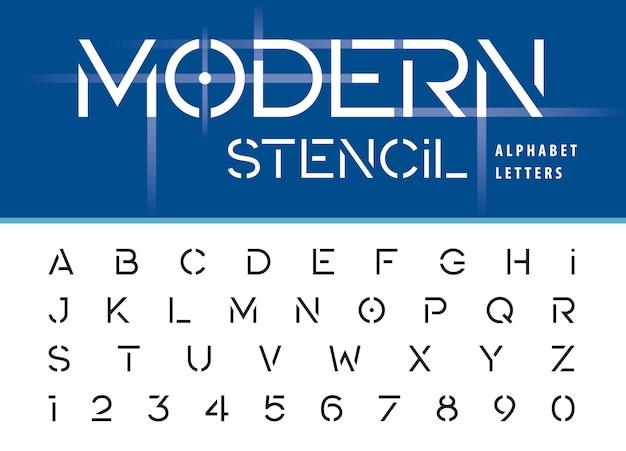 Nowoczesne wzornik litery i cyfry alfabetu Premium Wektorów