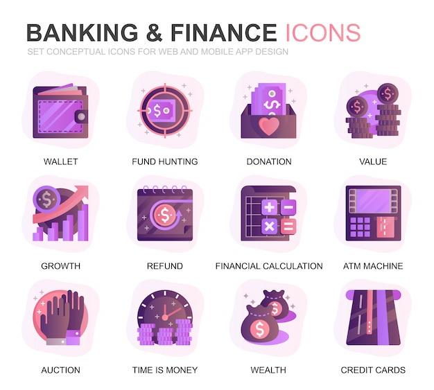 Nowoczesne zestaw bankowości i finansów gradientu płaskie ikony Premium Wektorów