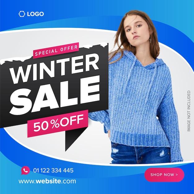 Nowoczesne Zimowe Sprzedaż Plakat, Baner Lub Szablon Wektor Ulotki Premium Wektorów