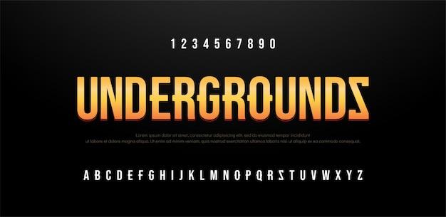 Nowoczesny alfabet kreatywny czcionki bezszeryfowej Premium Wektorów