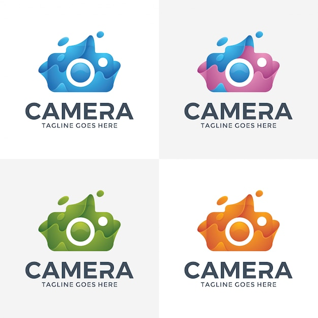 Nowoczesny aparat streszczenie logo w stylu 3d. Premium Wektorów