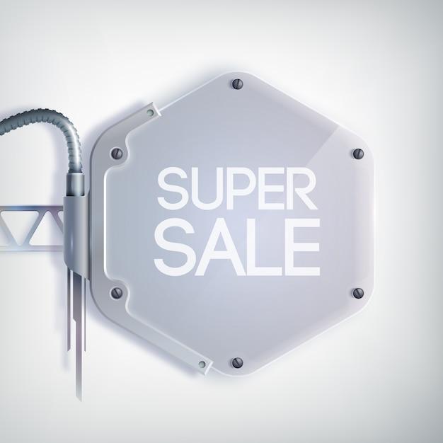 Nowoczesny Baner Sprzedaży Z Napisem Super Wyprzedaż Na Metalowej Sześciokątnej Płytce Darmowych Wektorów