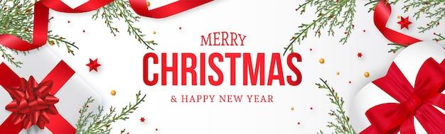 Nowoczesny Baner Strony Bożonarodzeniowej Z Realistycznym Tłem świątecznych Dekoracji Darmowych Wektorów