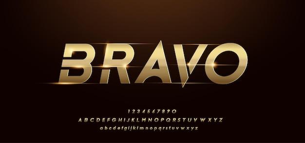 Nowoczesny Błyszczący Złoty Alfabet. Futurystyczne Czcionki Typograficzne Premium Wektorów