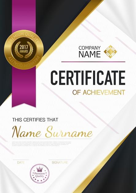 Nowoczesny certyfikat szablonu osiągnięć Darmowych Wektorów