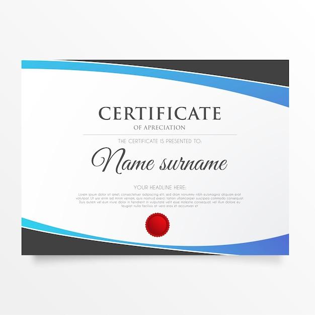 Nowoczesny certyfikat uznania z abstrakcyjnymi kształtami Darmowych Wektorów