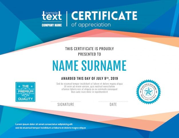 Nowoczesny certyfikat z niebieskim wielokątnym szablonem projektu tła Darmowych Wektorów