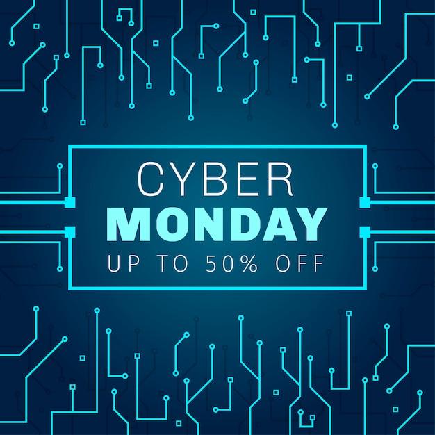 Nowoczesny Cyber Poniedziałek Banner Premium Wektorów