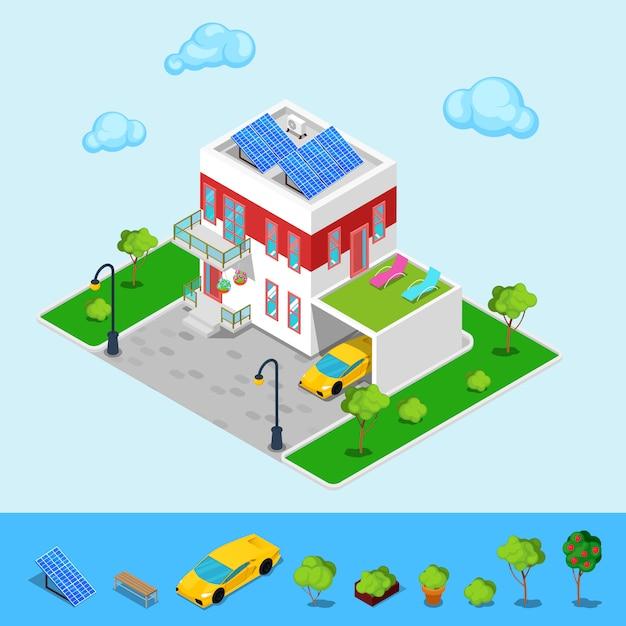 Nowoczesny Domek Z Bateriami Słonecznymi, Garażem I Zielonym Dachem. Budynek Izometryczny. Premium Wektorów