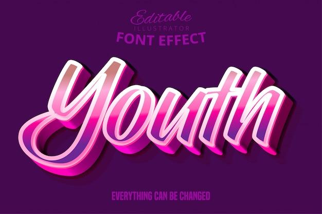 Nowoczesny Efekt Edytowalnej Czcionki Typograficznej Skryptu Młodzieżowego Premium Wektorów