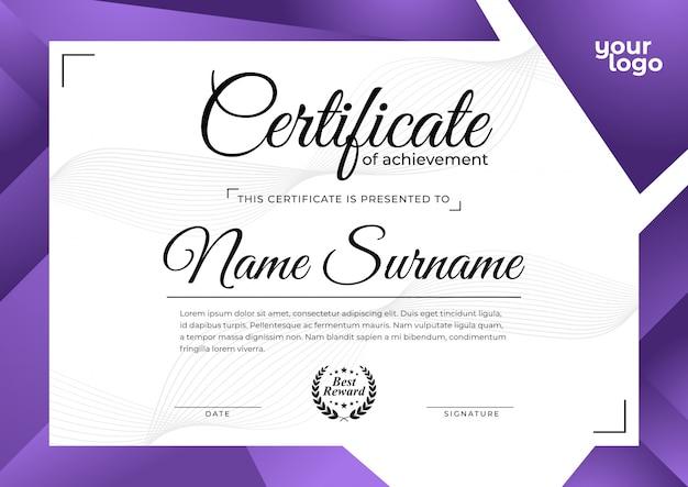 Nowoczesny fioletowy szablon certyfikatu Premium Wektorów