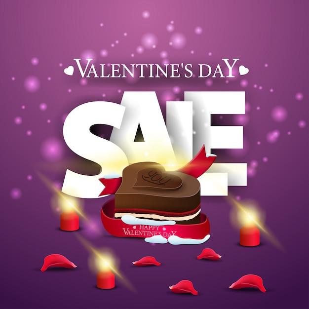 Nowoczesny fioletowy transparent sprzedaż walentynki z cukierków czekoladowych Premium Wektorów
