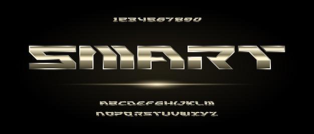 Nowoczesny Futurystyczny Alfabet Typografia W Stylu Miejskim Dla Technologii Projektowania Logo Cyfrowego Filmu Premium Wektorów