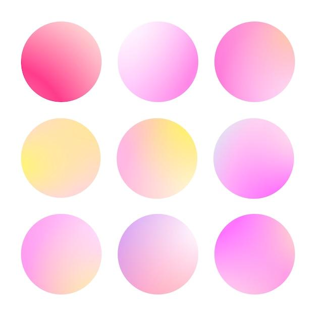 Nowoczesny Gradient Zestaw Z Okrągłymi Abstrakcyjnymi Tłami. Kolorowe Osłony Na Płyn Premium Wektorów
