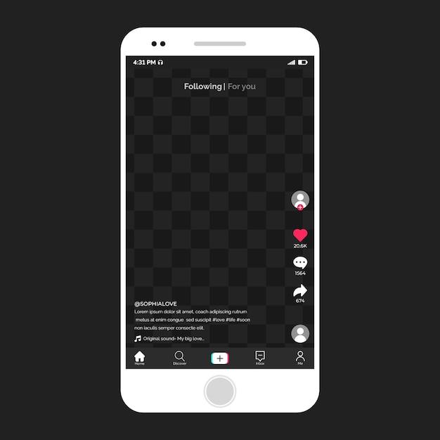 Nowoczesny Interfejs Tiktok Na Smartfonie Premium Wektorów