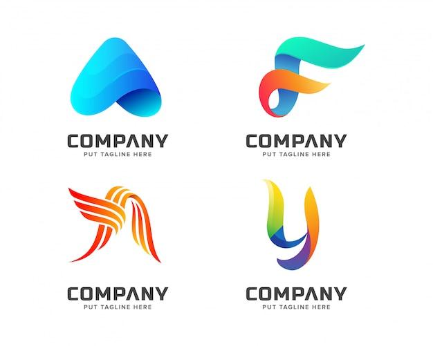 Nowoczesny kolorowy szablon logo Premium Wektorów