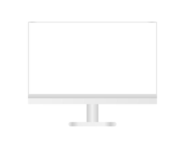 Nowoczesny Komputer Stacjonarny Z Pustym Ekranem. Projekt Szablonu Realistyczna Ilustracja. Premium Wektorów
