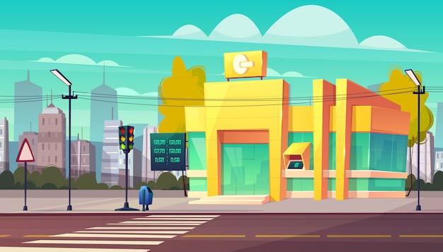 Nowoczesny oddział banku z cyfrowym wskaźnikiem kursów walut i bankomat atm na wektor kreskówka wejście. Darmowych Wektorów