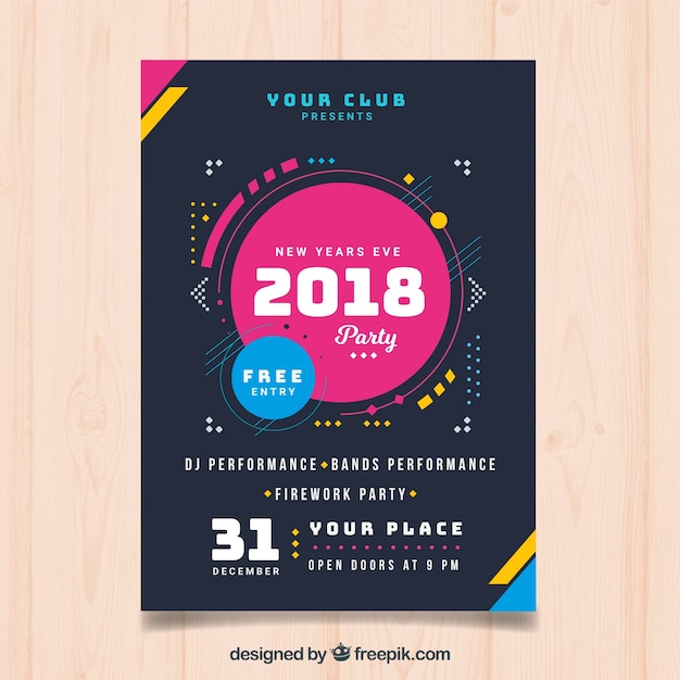 Nowoczesny plakat nowego roku 2018 Darmowych Wektorów