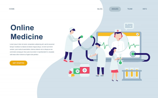 Nowoczesny Płaski Szablon Strony Internetowej Medycyny Premium Wektorów