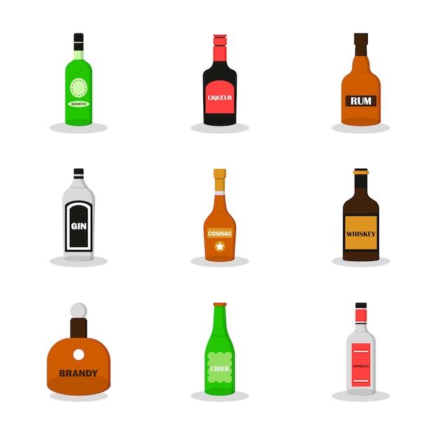 Nowoczesny płaski zestaw alkoholu. zestaw absynt, likier, whisky, sambuca, brandy, koniak, gin, rum, cydr Premium Wektorów