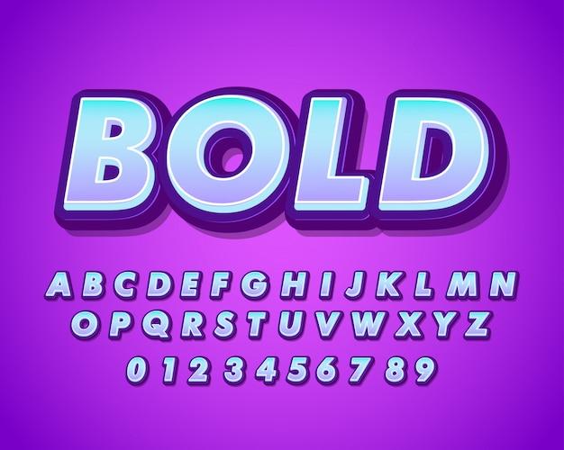 Nowoczesny pogrubiony alfabet z miękkim gradientem Premium Wektorów