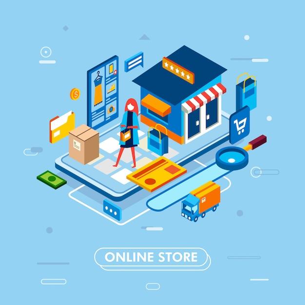 Nowoczesny Projekt Płaski Izometryczny Procesu Zakupów Online Ze Smartfona, Z Kartą, Ciężarówką, Produktem Premium Wektorów